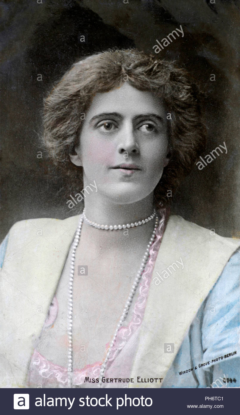 Gertrude Elliott 1874 — 1950, later Lady Forbes-Robertson, was an American stage actress, part of an extended family of theatre professionals including her husband, Sir Johnston Forbes-Robertson, vintage real photograph postcard from 1904 - Stock Image
