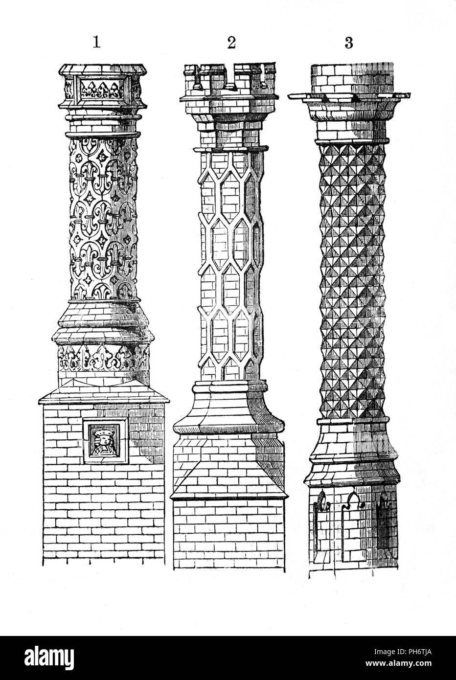 Examples of 16th Century, ornate and decorative Tudor brick chimneys. Number 1is East Barsham Manor; Number 2 is Hampton Court and number 3 is Eton College. - Stock Image