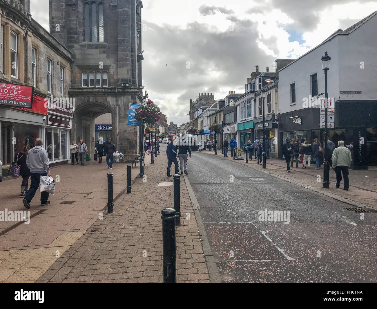 Ayr, Scotland, UK - August 29, 2018: Looking up High Street Ayr where most of the street has been pedestrianised in a bid to control traffic in the to - Stock Image