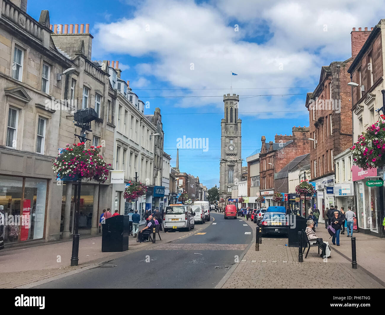 Ayr, Scotland, UK - August 29, 2018: Looking down High Street Ayr where most of the street has been pedestrianised in a bid to control traffic in the  - Stock Image