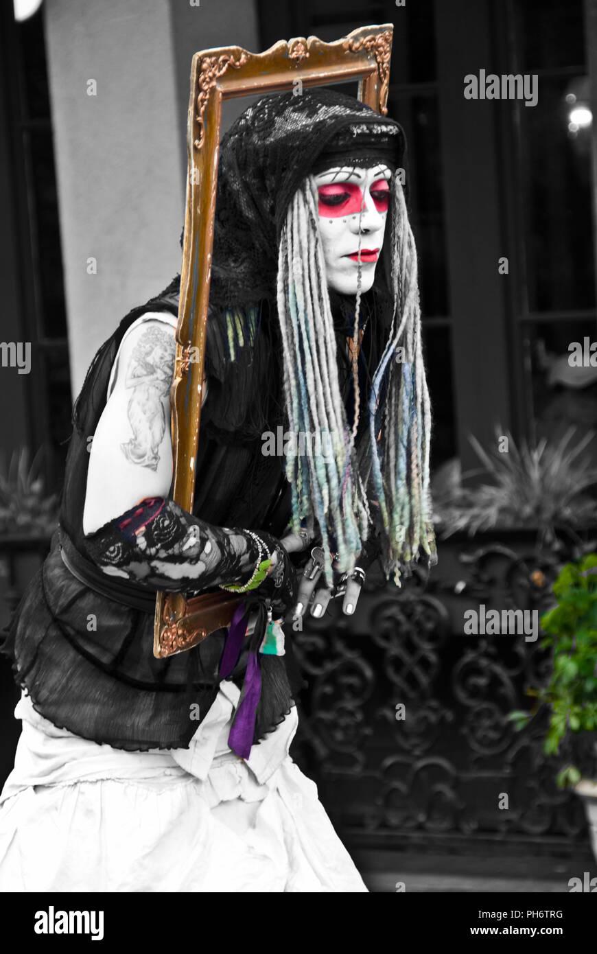 French Quarter Street Mime Artist - Stock Image