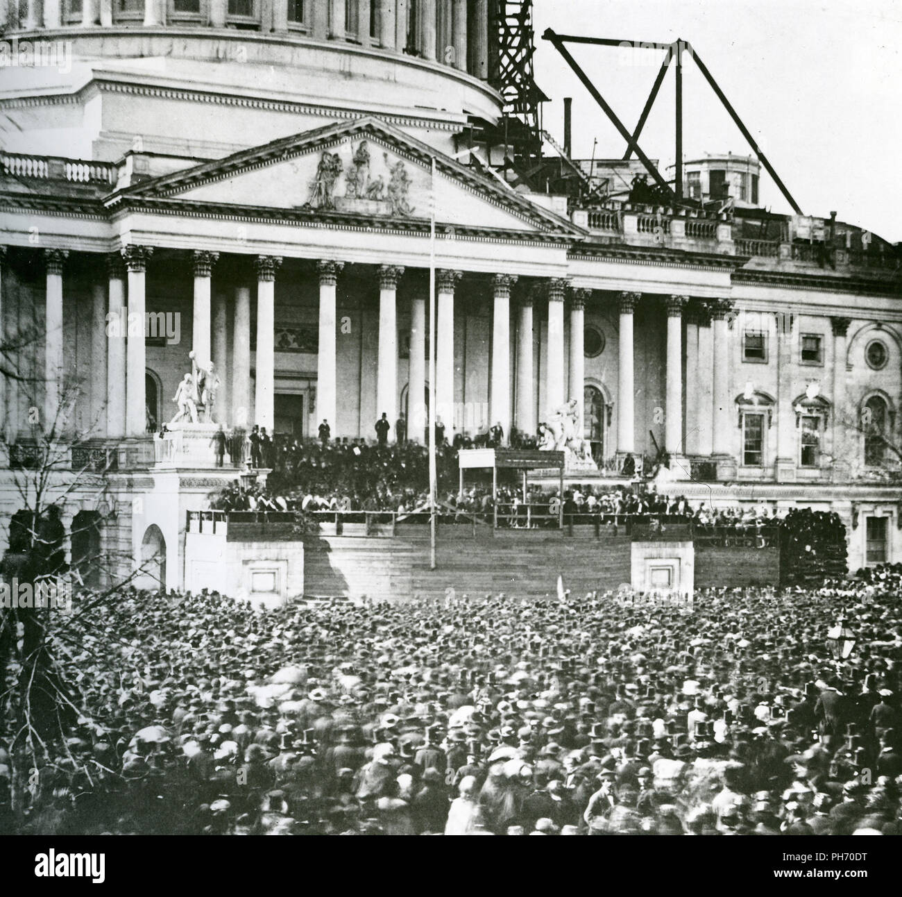 New 8x10 Photo Capitol /& Crowd at First Inauguration of Abraham Lincoln 1861