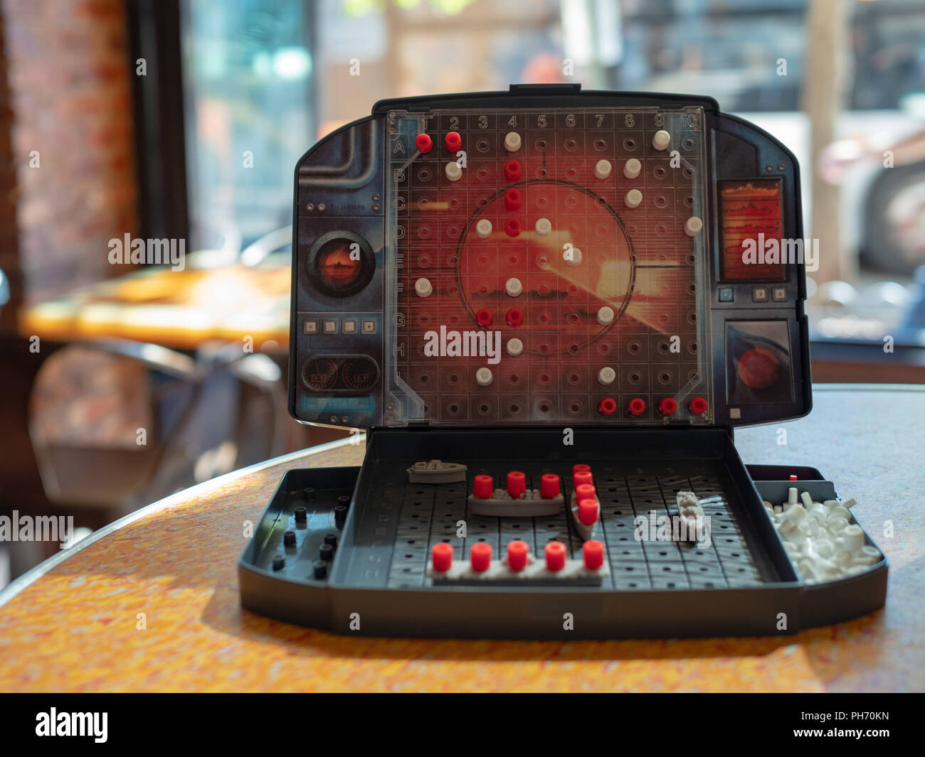 One side of Battleship board game made by Milton Bradley - Stock Image
