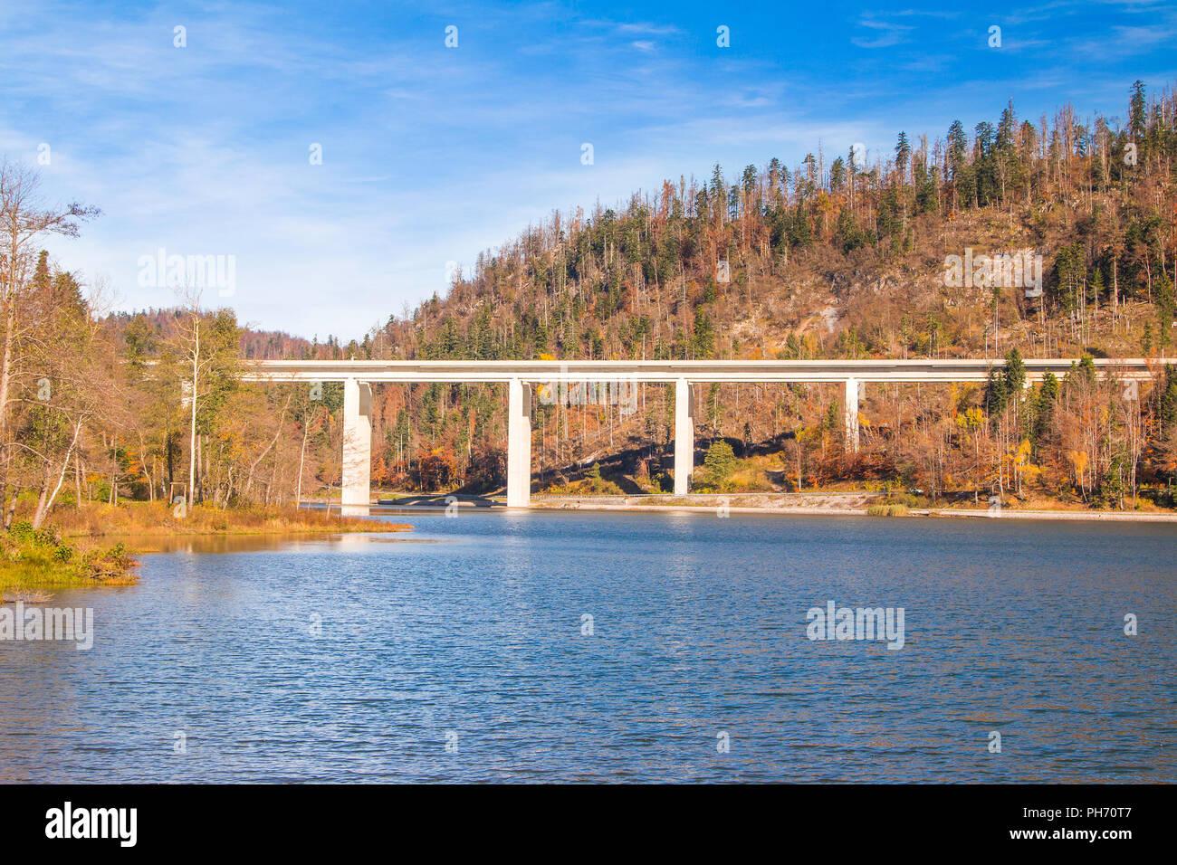 Bridge over the Bajer Lake in Fuzine, Gorski kotar, Croatia Stock Photo