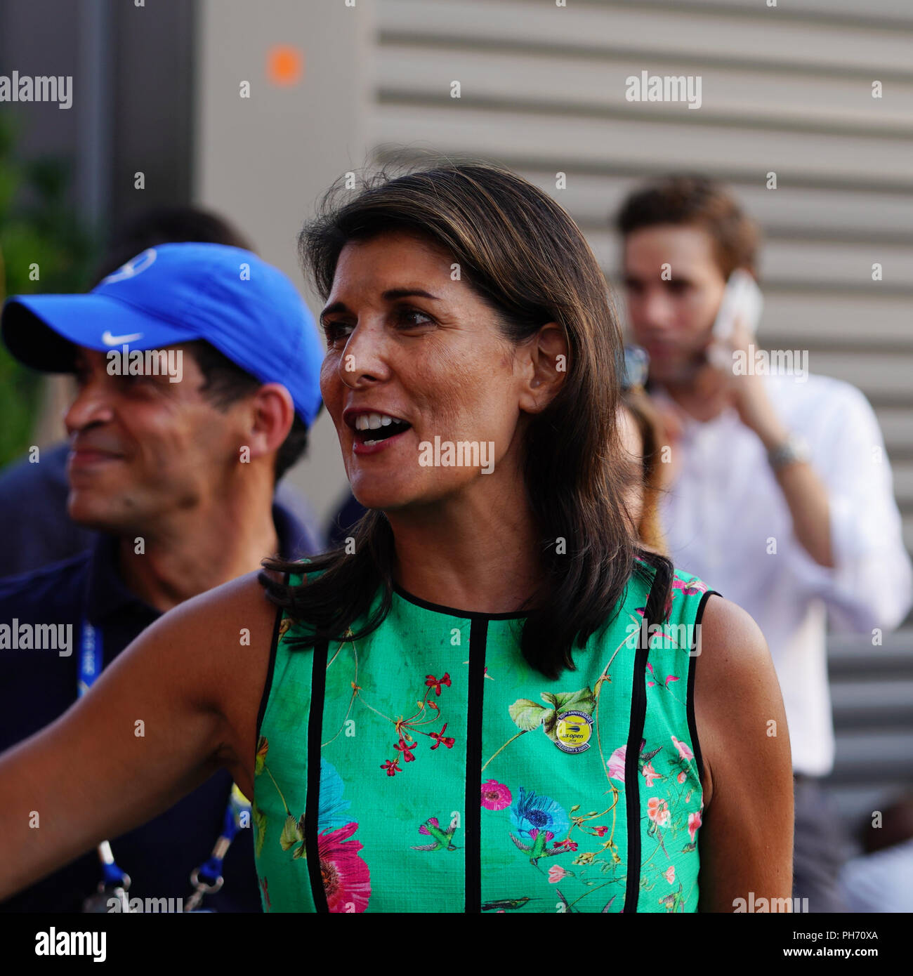 United States Ambassador to the United Nations Nikki Haley attends 2018 US Open day session at  Billie Jean King National Tennis Center in New York - Stock Image