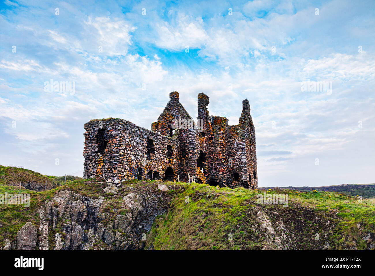 Dunskey Castle, near Portpatrick, Dumfries and Galloway, in south-west Scotland. Stock Photo