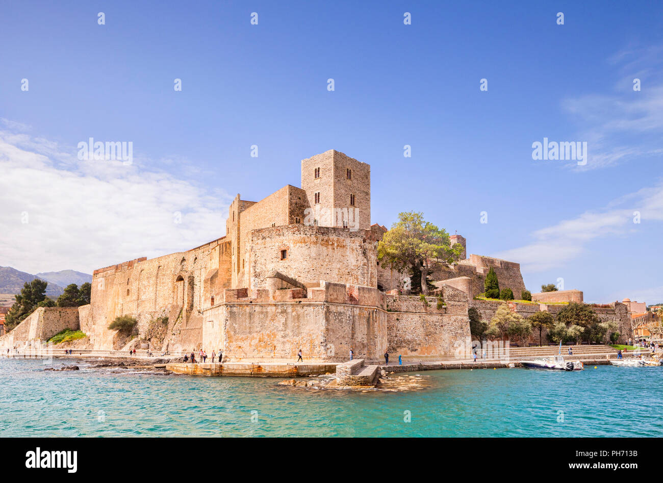 Royal Chateau, Collioure, Languedoc-Roussillon, Pyrenees-Orientales, France. Stock Photo