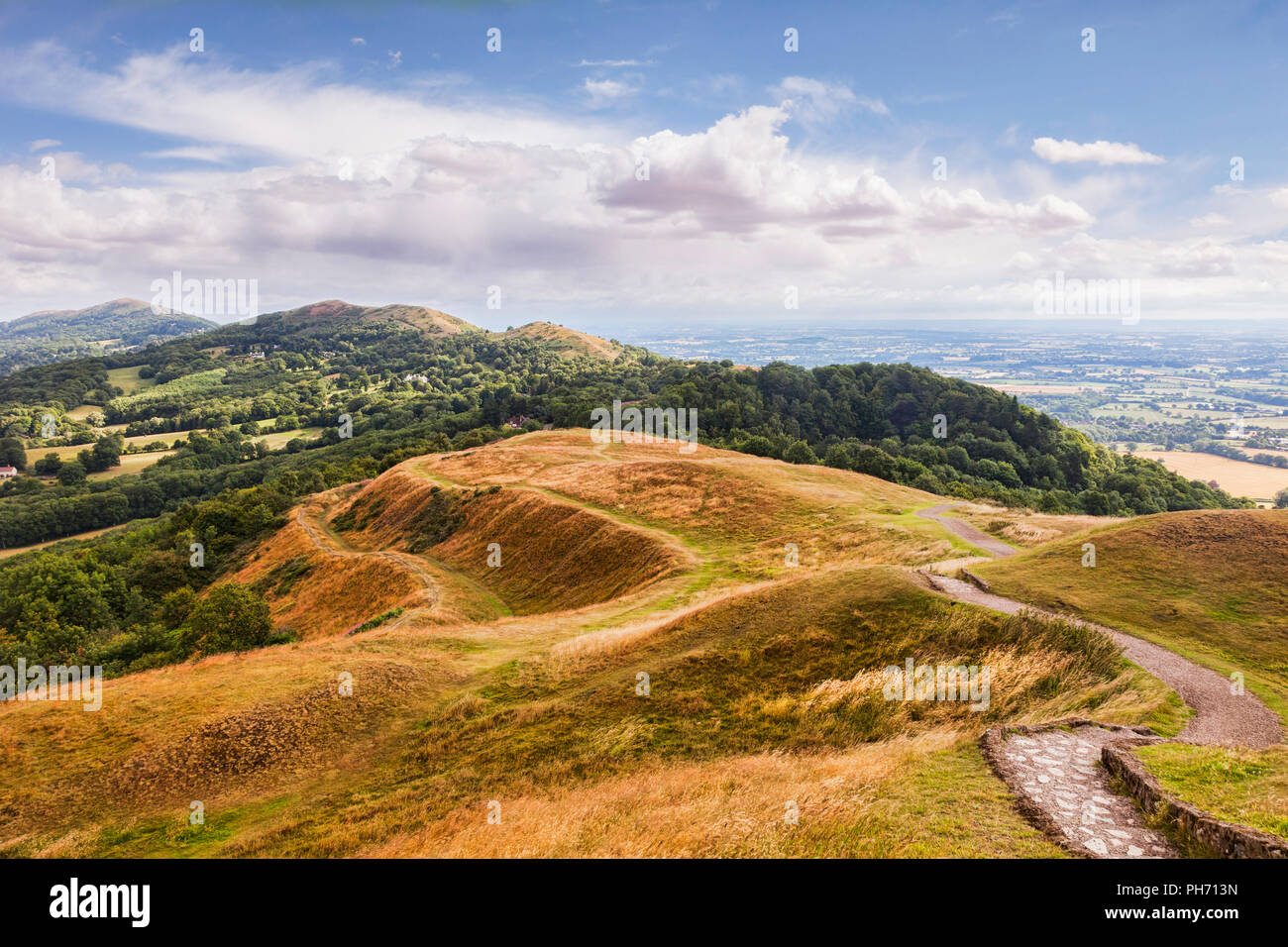 The Malvern Hills from British Camp, Herefordshire and Worcestershire, England Stock Photo