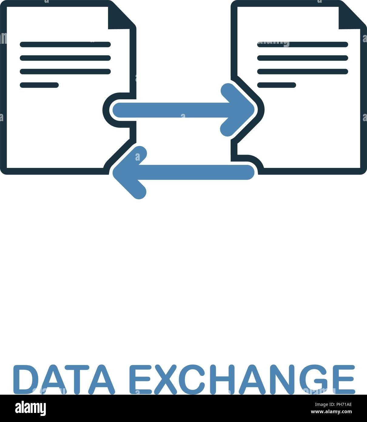 Data Exchange Icon In Two Colors Simple Element Illustration Data
