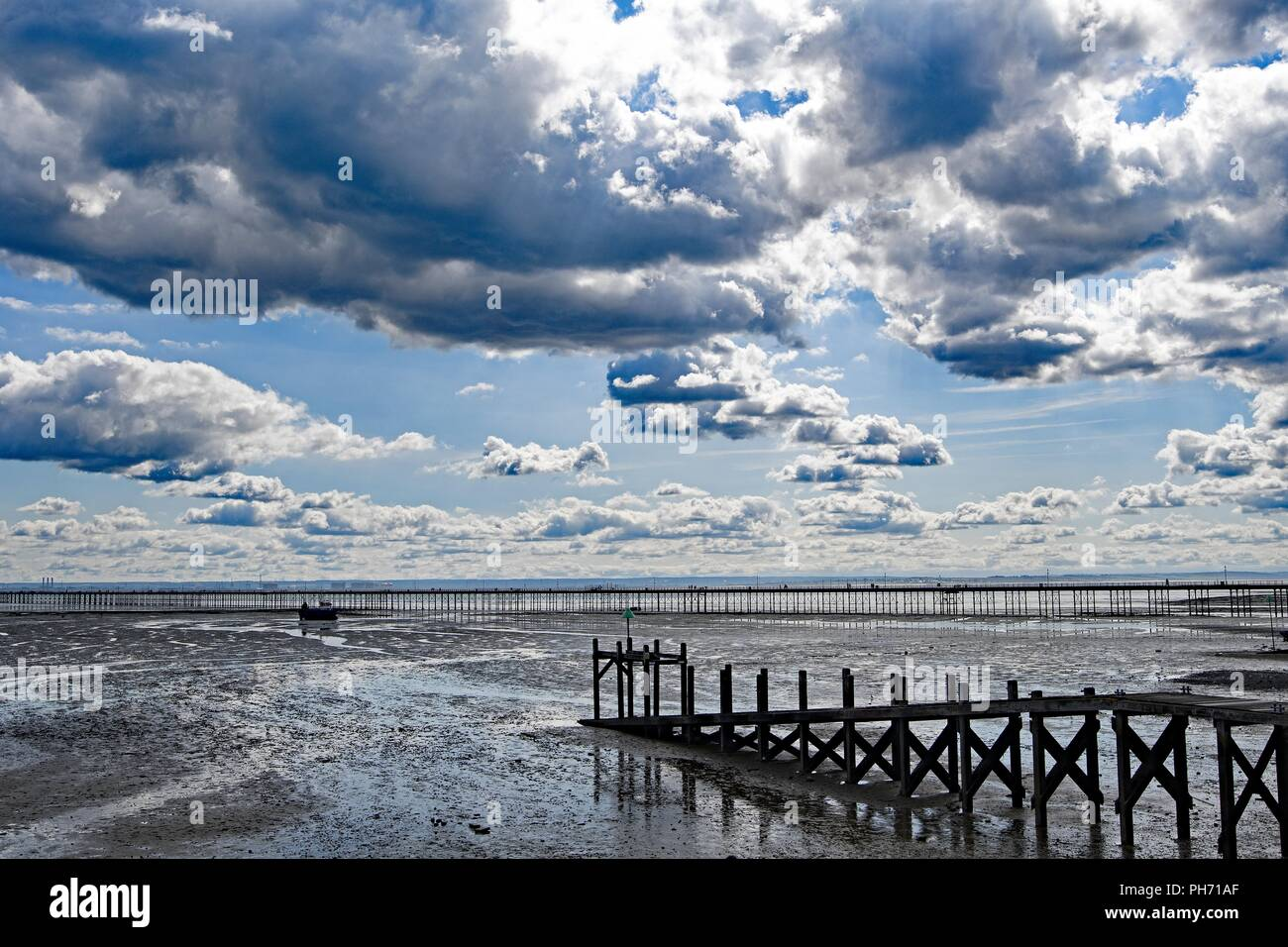 Capturing an awesome panoramic view of the longest pleasure pier in the world, at South End on Sea, Essex. - Stock Image