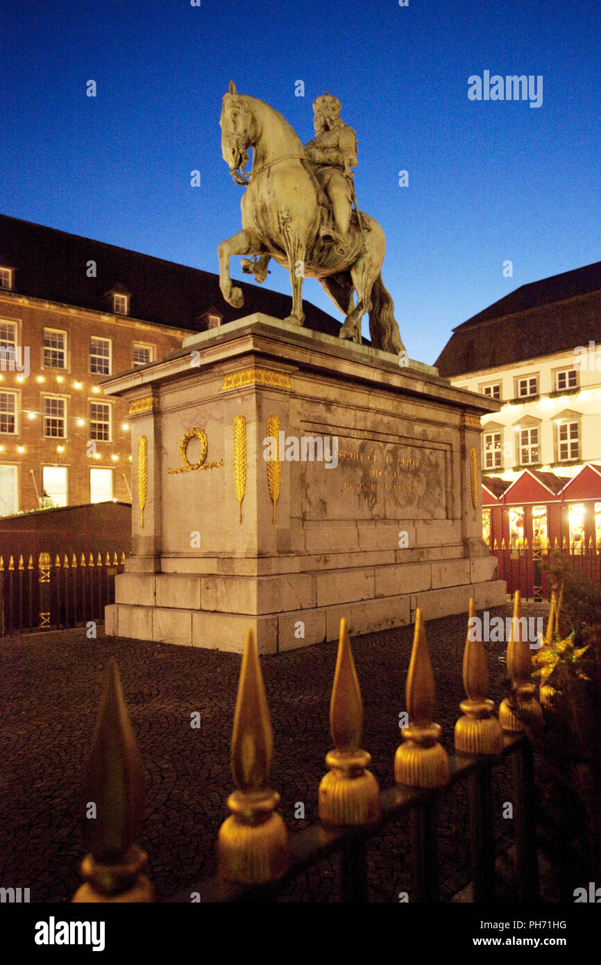 The Jan Wellem equestrian statue in Duesseldorf. - Stock Image