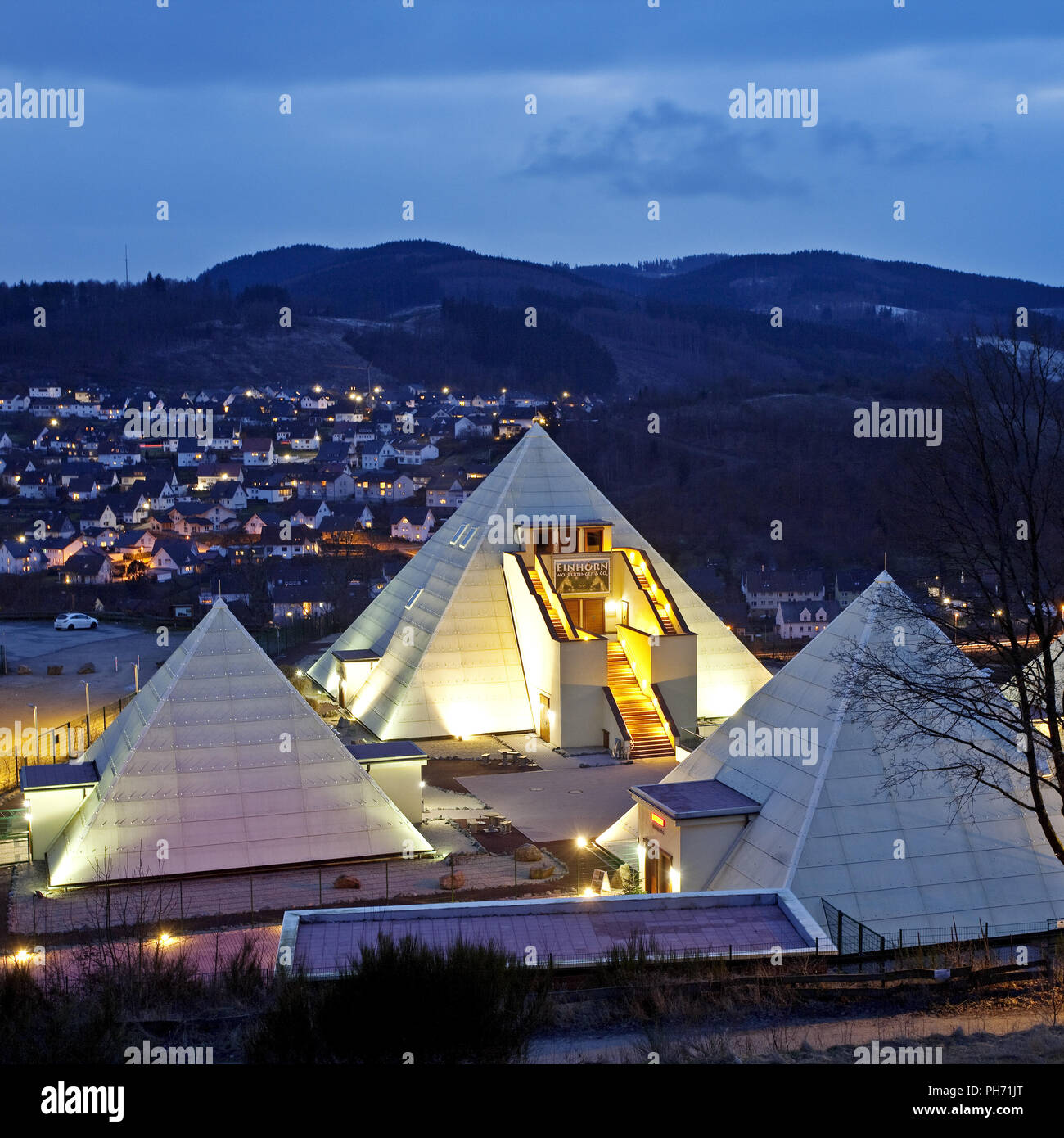 The Sauerland Pyramids in Meggen in Lennestadt. Stock Photo