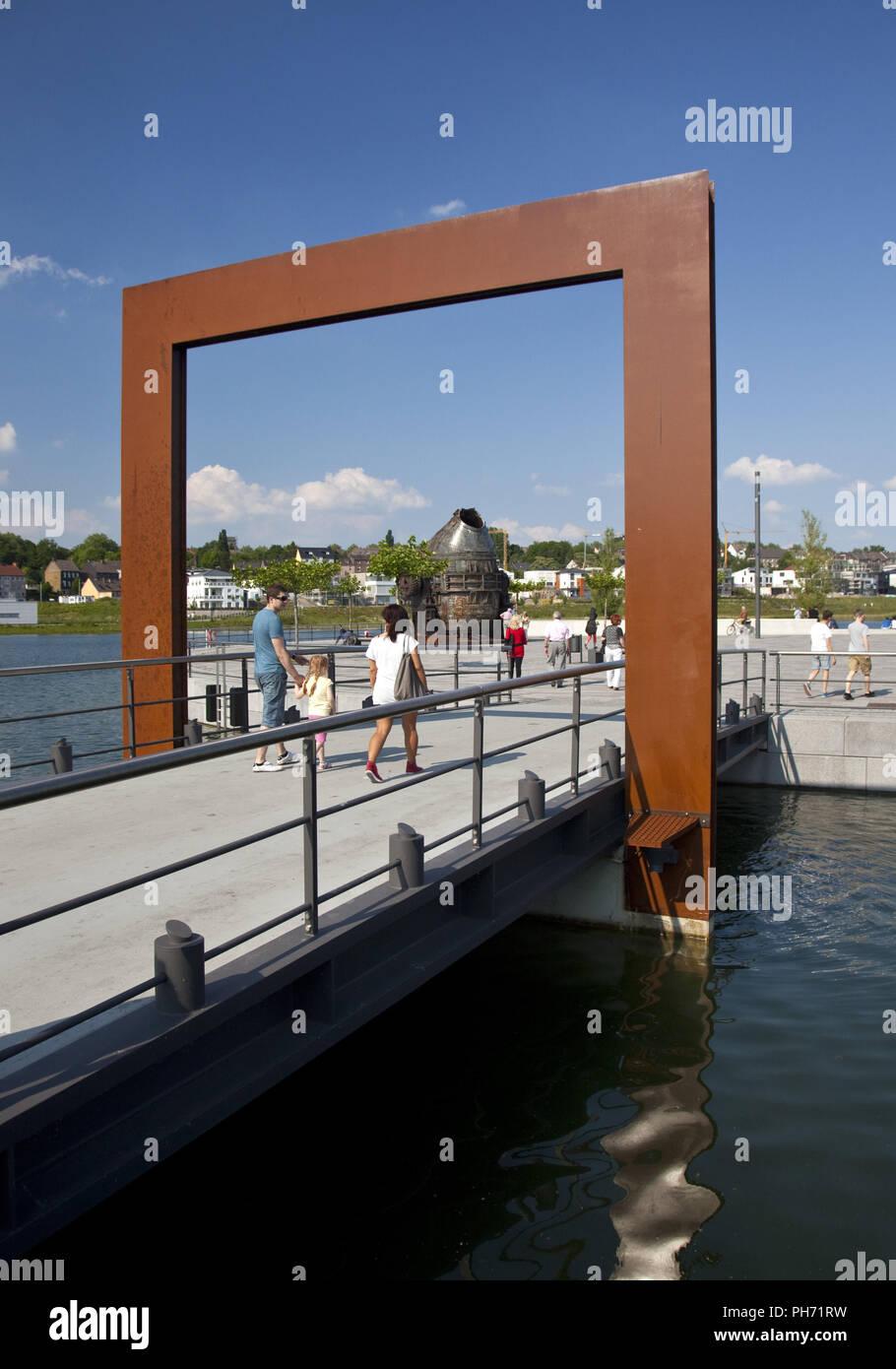Culture Island, Phoenix Lake, Dortmund, Germany. - Stock Image