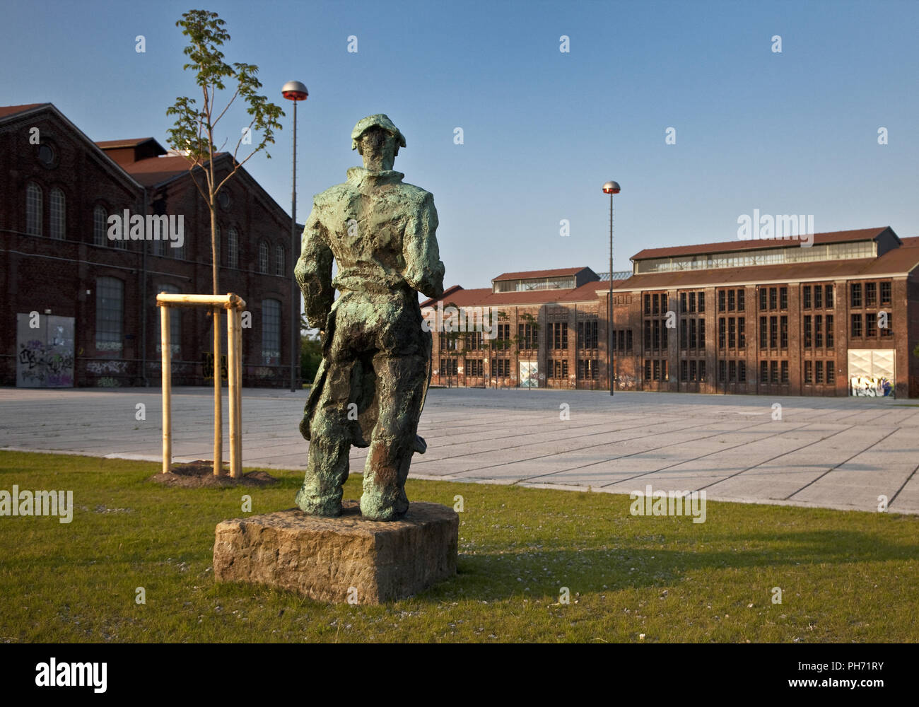 Miners sculpture, Phoenix West, Dortmund, Germany. - Stock Image