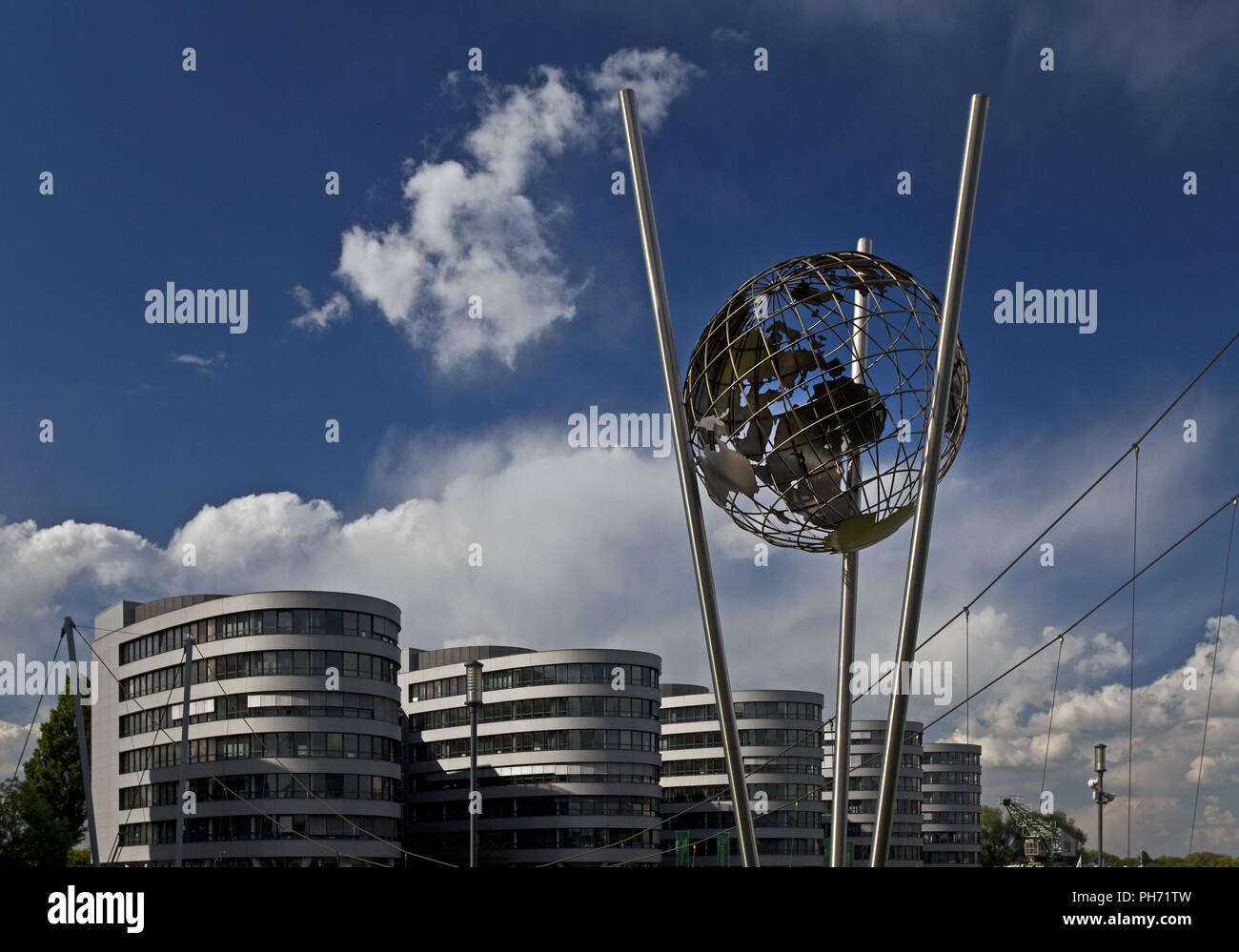 Mercator globe, Duisburg inner Habour, Germany. - Stock Image