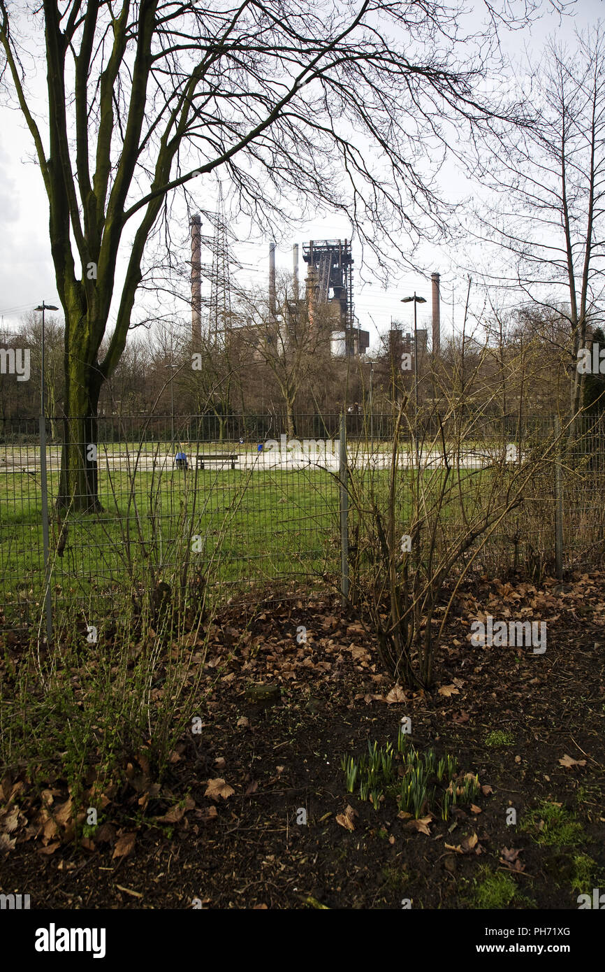 Schwelgerpark with industry, Duisburg, Germany. - Stock Image