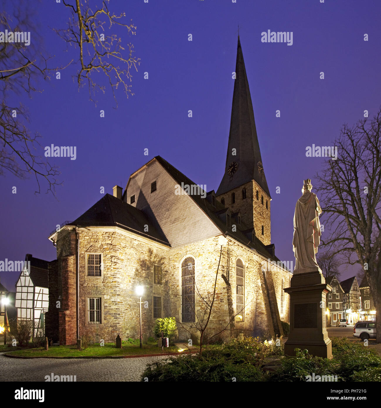 Old Town, St George's Church, Hattingen, Germany. - Stock Image