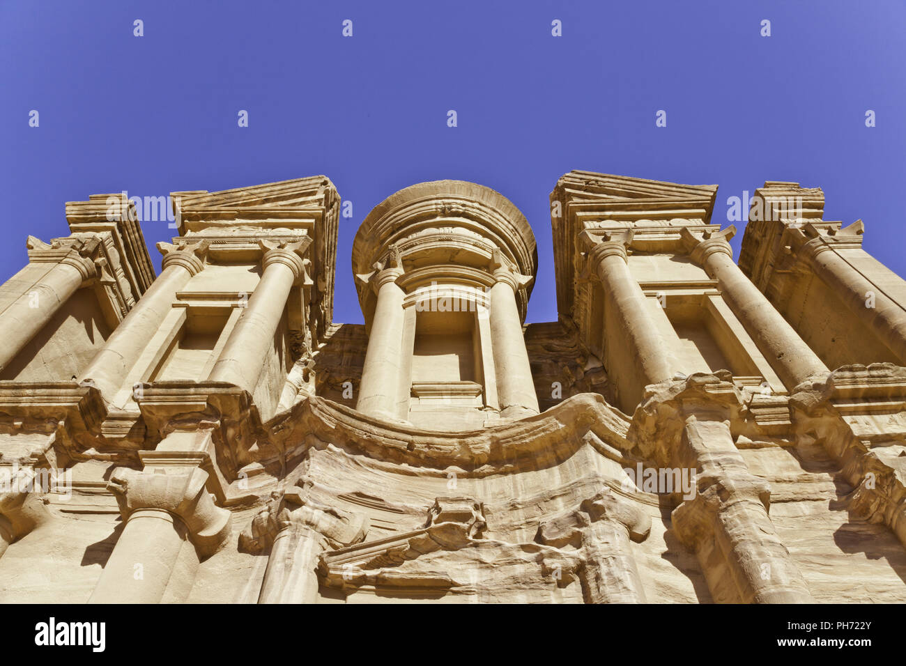 Monastery in ancient nabataeans city of petra - Stock Image