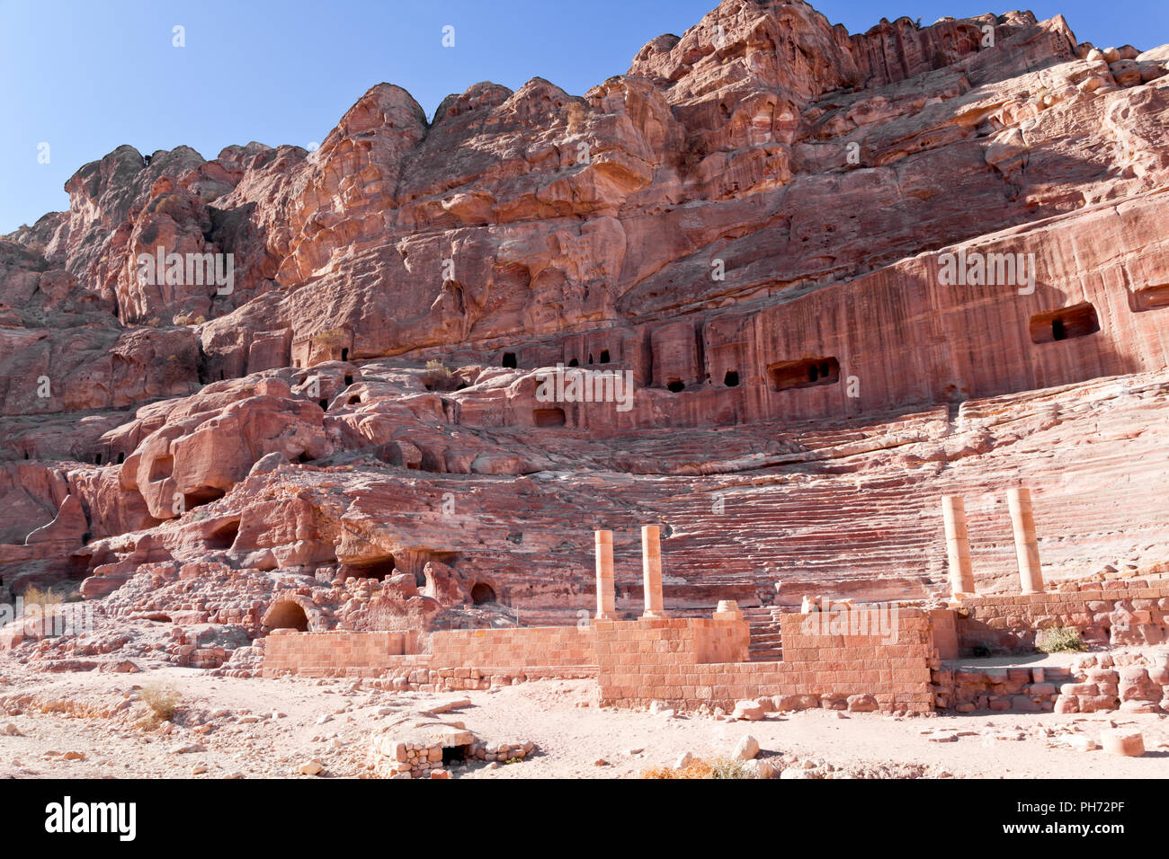 Amphitheater of petra, jordan Stock Photo