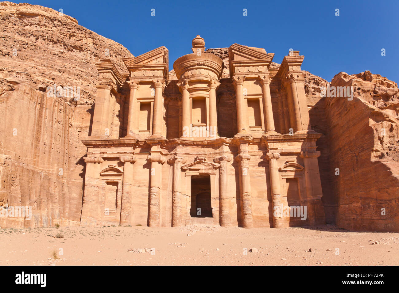 Facade of monastery in petra, jordan Stock Photo