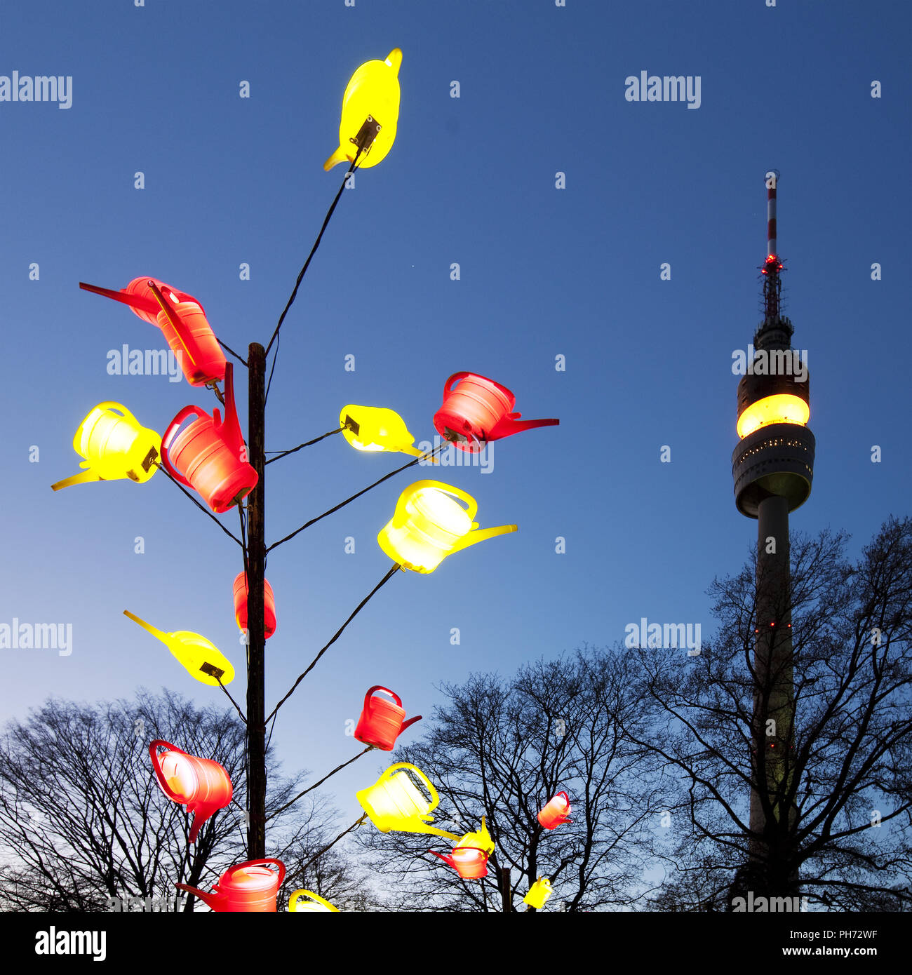 Winter lights, park Westphalia, Dortmund, Germany. - Stock Image
