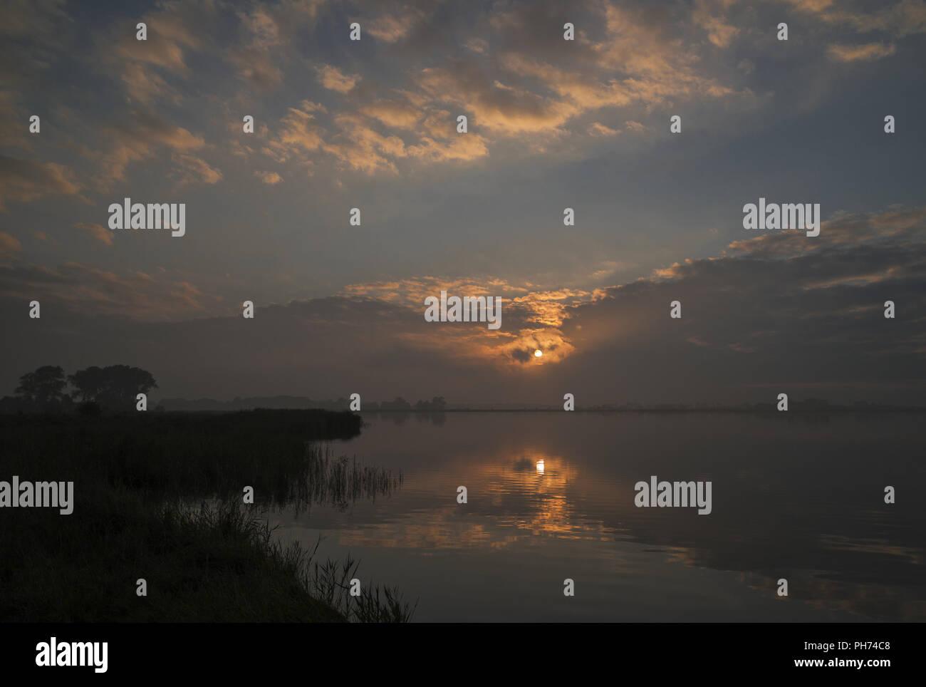 Ruegen - evening light in the Schoritzer Wiek - Stock Image