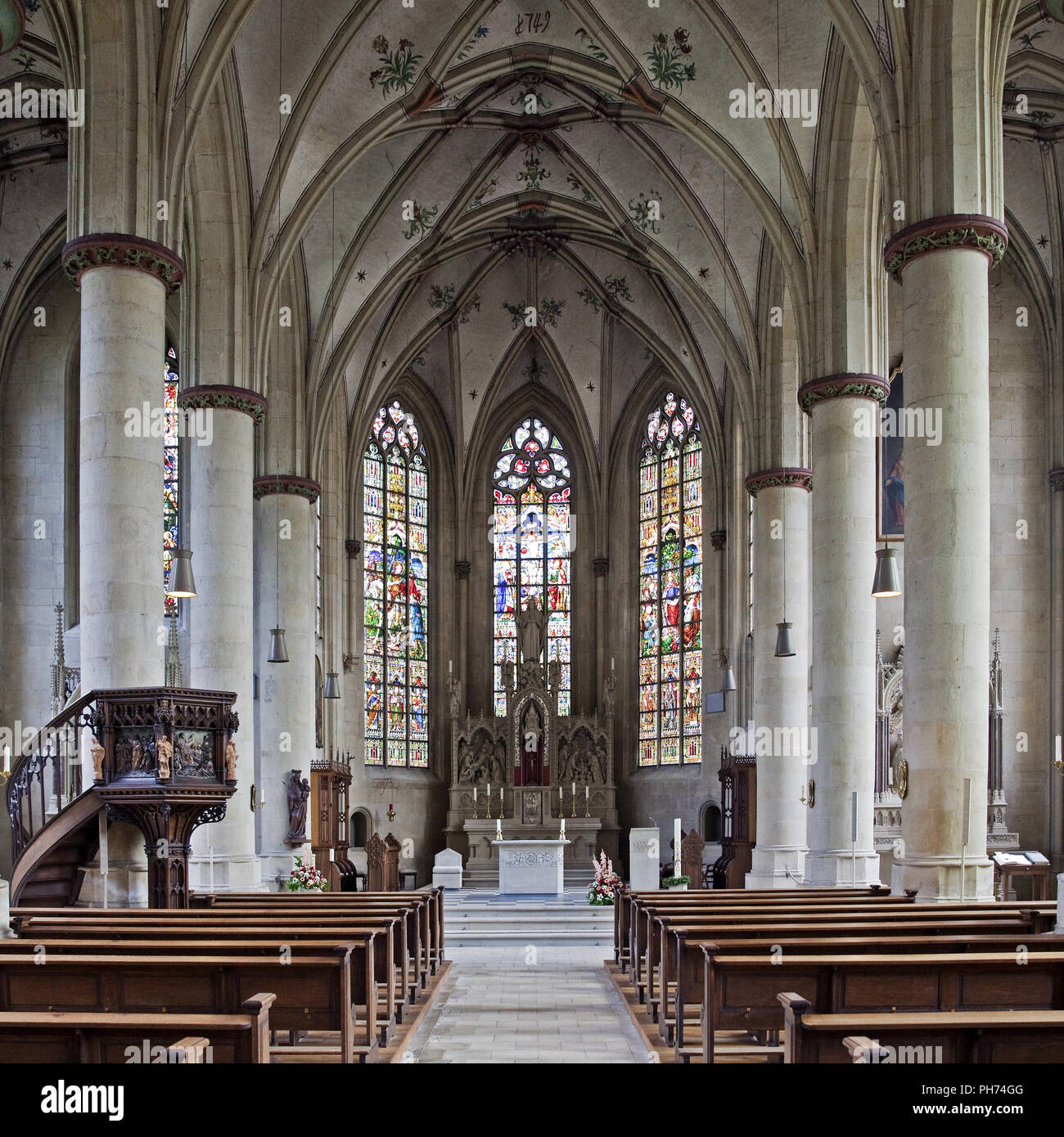 Interior, parish church, Nottuln, Germany - Stock Image