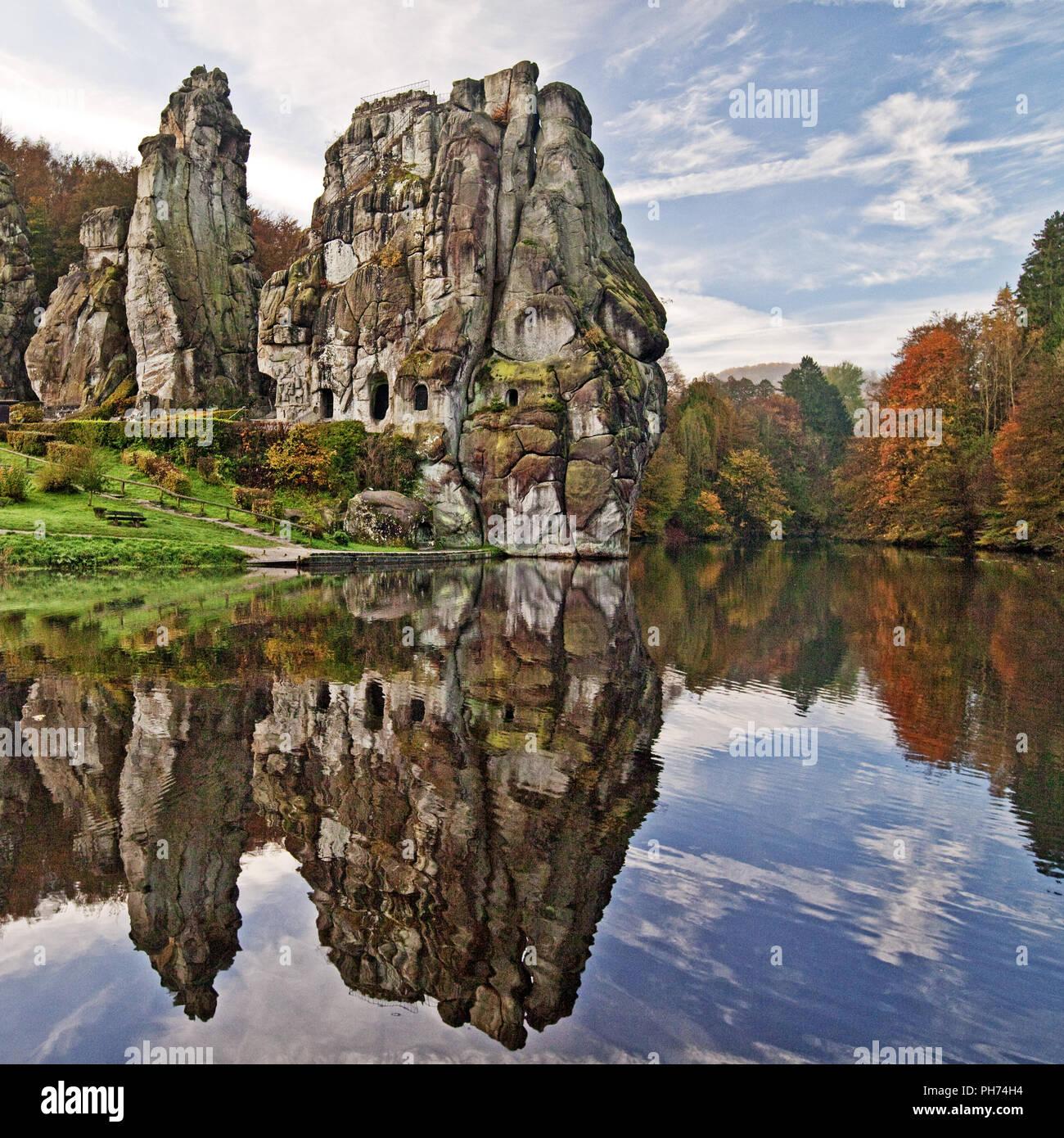 Externsteine, sandstone rock formations, Germany - Stock Image