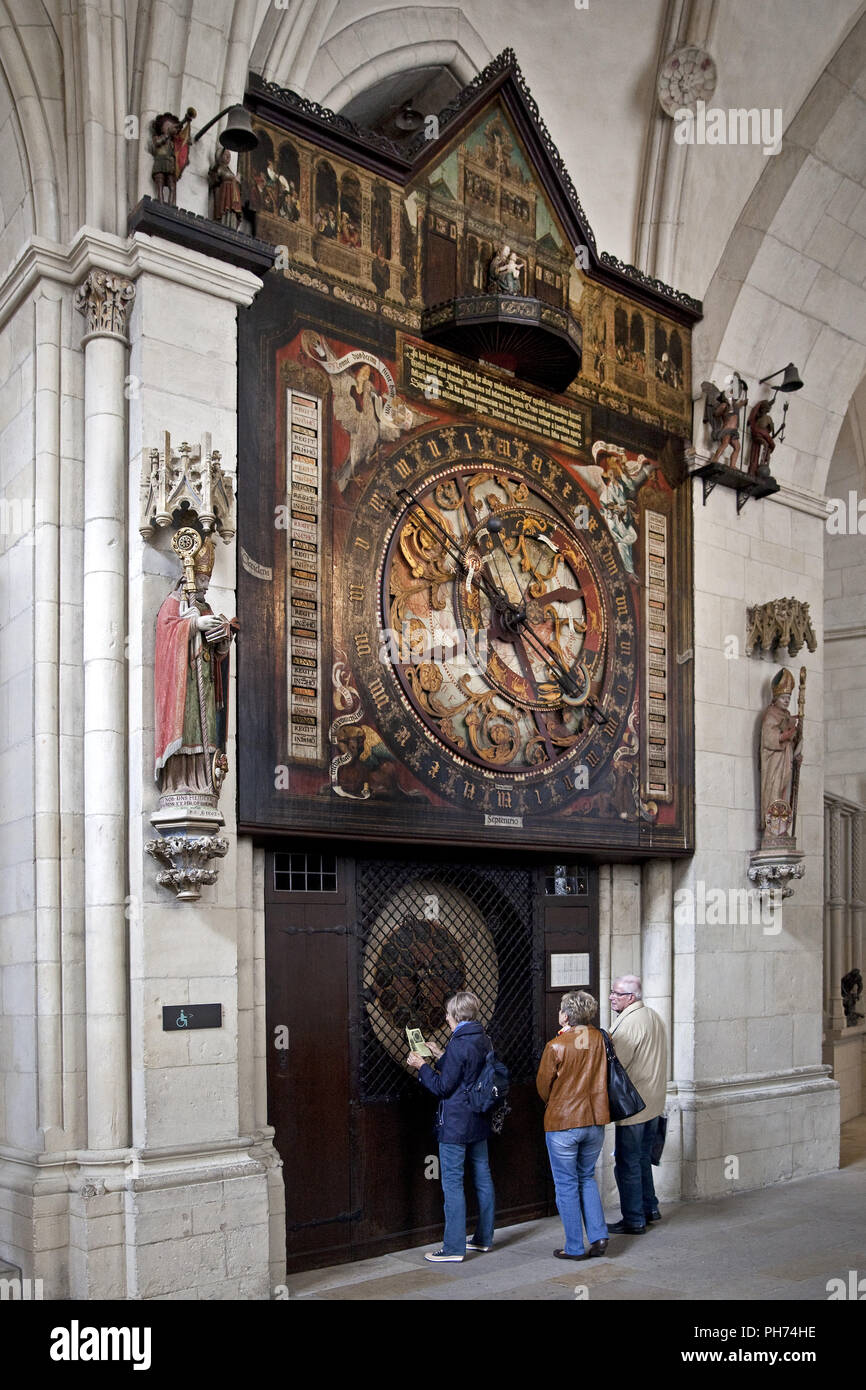 Astronomical Clock, Cathedral, Muenster, Germany - Stock Image