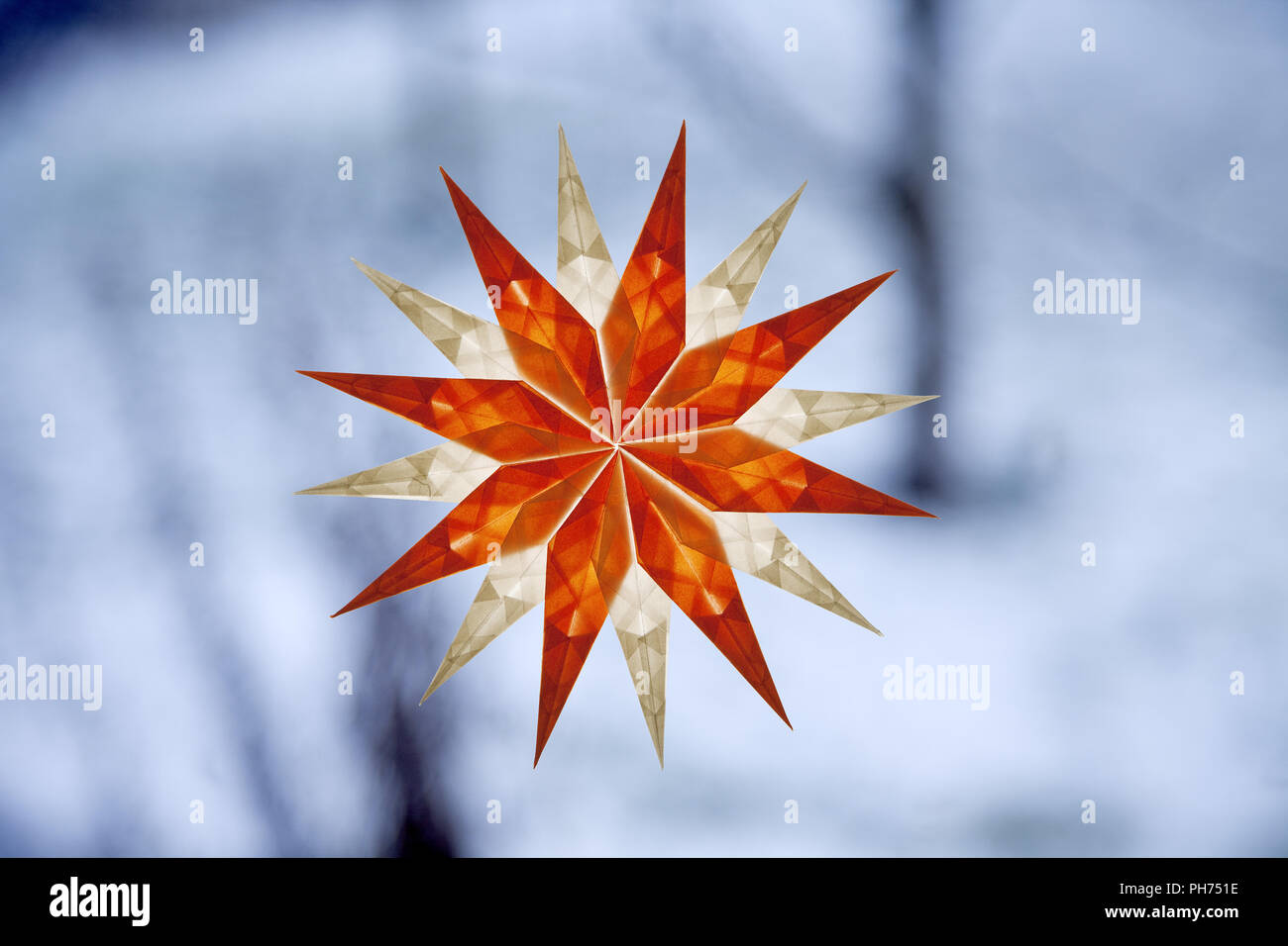 Transparent star, window decoration, wintertime - Stock Image