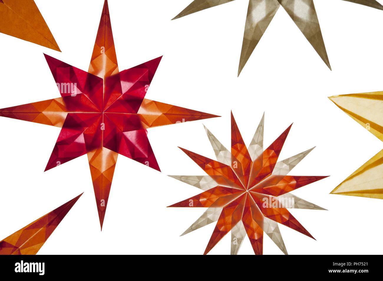 Transparent stars, window decoration, cutout - Stock Image
