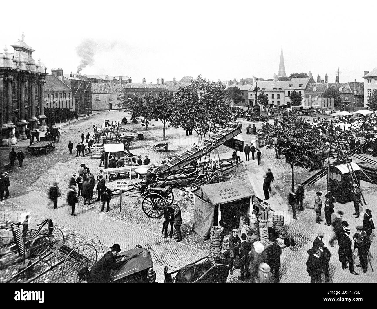 Kings Lynn Market Place, early 1900s - Stock Image