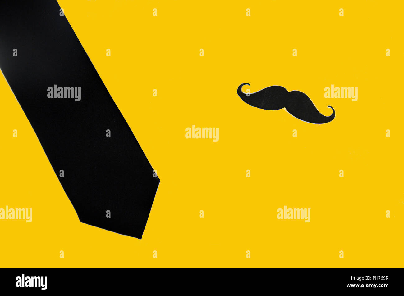 movember movement, black mustache and necktie - Stock Image