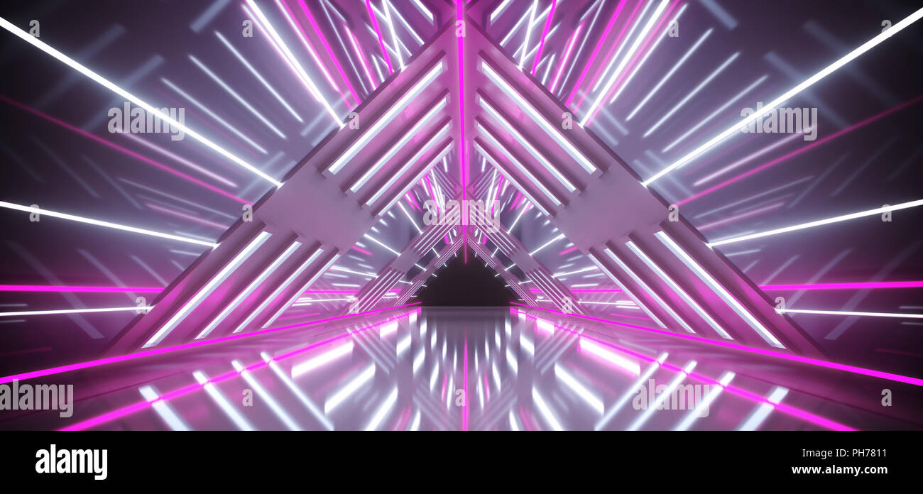 Empty Futuristic Sci Fi Triangle Shaped Highly Reflective Corridor With White Light Strips And Purple Neon Tubes 3D Rendering - Stock Image