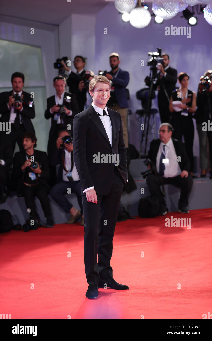 Venice, Italy. 30th Aug, 2018. Actor Joe Alwyn attends the premiere of film 'The Favourite' at the 75th Venice International Film Festival in Venice, Italy, Aug. 30, 2018. Credit: Cheng Tingting/Xinhua/Alamy Live News - Stock Image