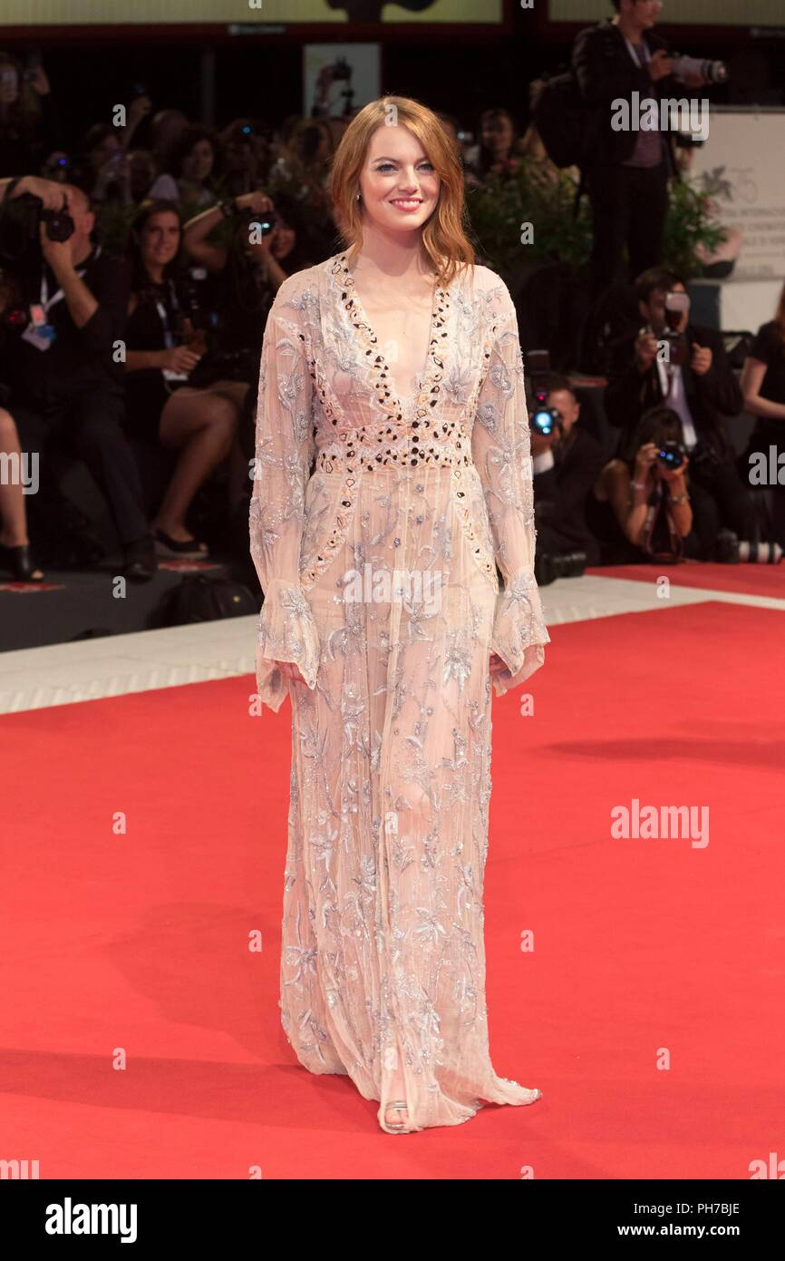 Venice, Italy. 30th Aug, 2018. Emma Stone attends the premiere of 'The Favourite' during the 75th Venice Film Festival at Palazzo del Cinema in Venice, Italy, on 30 August 2018. | usage worldwide Credit: dpa/Alamy Live News - Stock Image