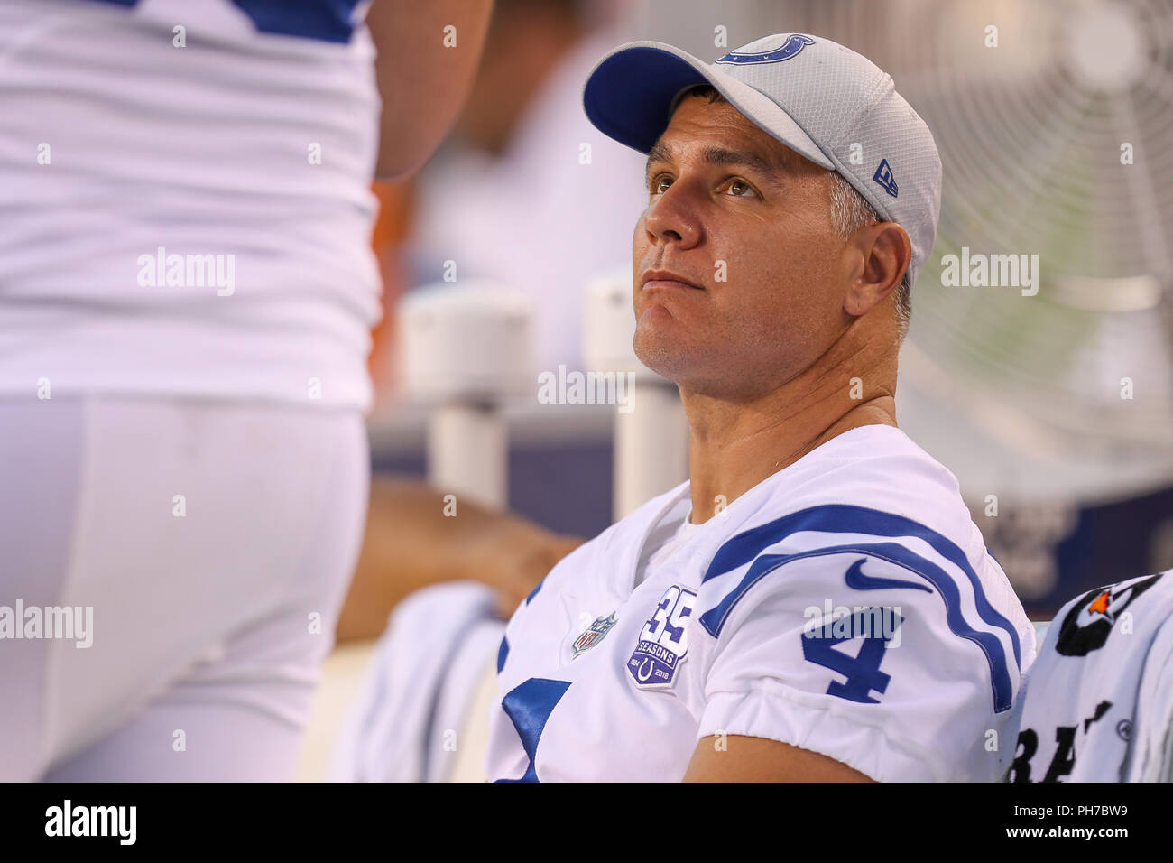 Cincinnati Ohio Usa August 30th 2018 Indianapolis Colts Kicker Adam Vinatieri 4 Looks On In A