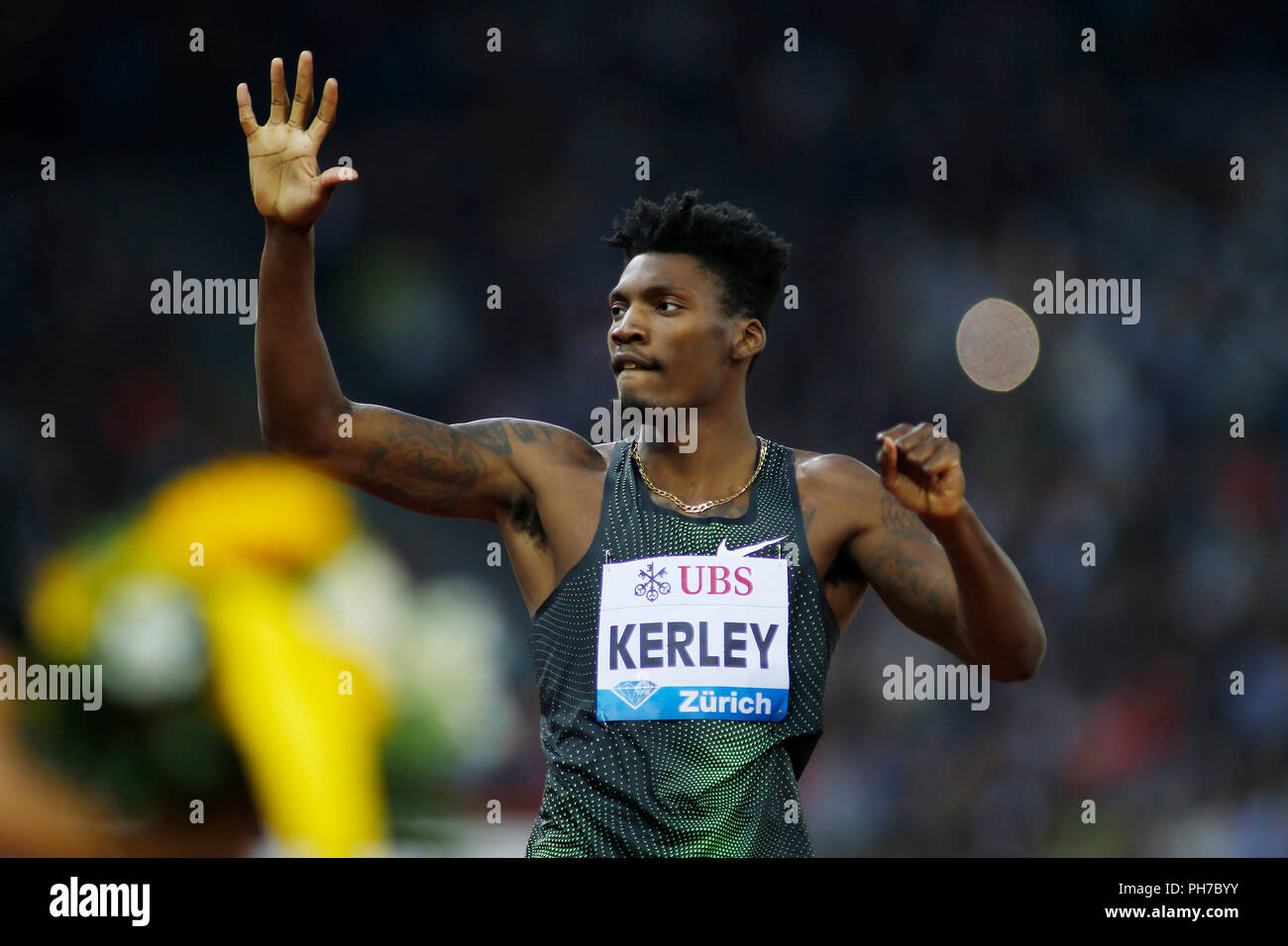 Zurich, Switzerland. 30th Aug, 2018. Fred Kerley of the United States reacts during the men's 400m at the IAAF Diamond League athletics meeting in Zurich, Switzerland, Aug. 30, 2018. Fred Kerley claimed the title in a time of 44.80 seconds. Credit: Michele Limina/Xinhua/Alamy Live News - Stock Image