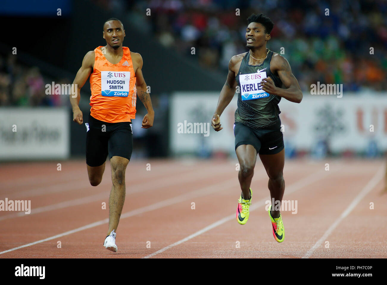 Zurich, Switzerland. 30th Aug, 2018. Fred Kerley (R) of the United States competes during the men's 400m at the IAAF Diamond League athletics meeting in Zurich, Switzerland, Aug. 30, 2018. Fred Kerley claimed the title in a time of 44.80 seconds. Credit: Michele Limina/Xinhua/Alamy Live News - Stock Image