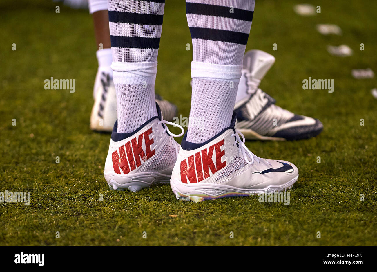 38b5a198fc5 Shoes of New England Patriots tight end Rob Gronkowski (87) during  preseason game between the New England Patriots and the New York Giants at  MetLife ...