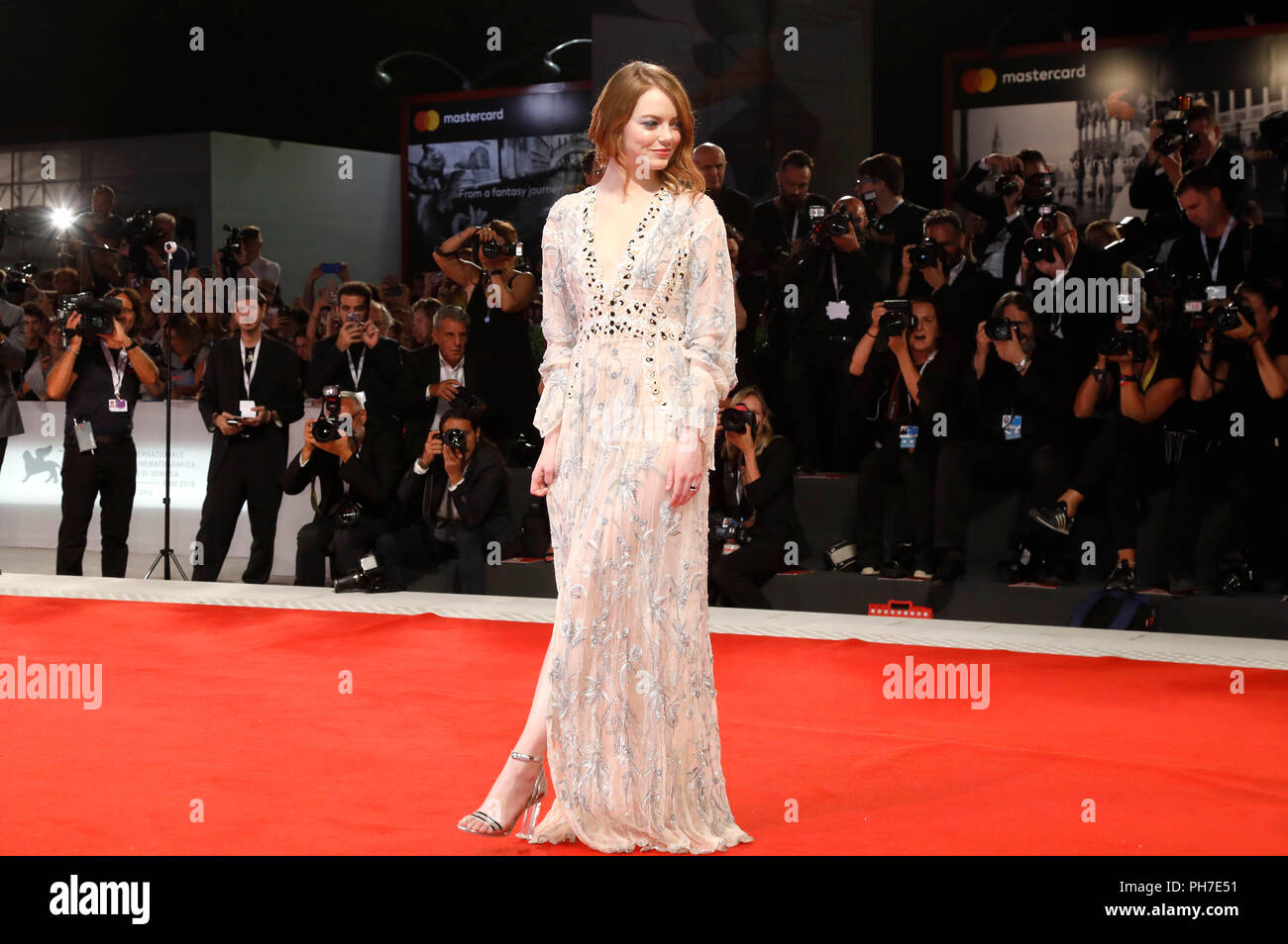 Venice, Italy. 30th Aug 2018. Emma Stone attending the 'The Favourite' premiere at the 75th Venice International Film Festival at the Palazzo del Cinema on August 30, 2018 in Venice, Italy Credit: Geisler-Fotopress GmbH/Alamy Live News - Stock Image