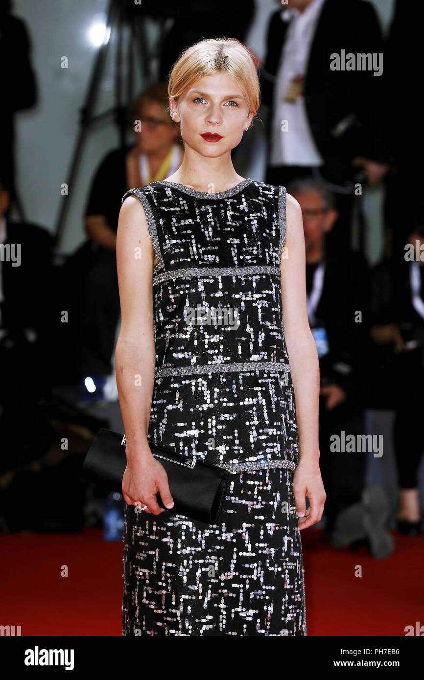 Venice, Italy. 30th Aug 2018. Clemence Poesy attends the 'The Favorite' première on August 30, 2018 in Venice, Italy.(By Mark Cape/Insidefoto) Credit: insidefoto srl/Alamy Live News - Stock Image
