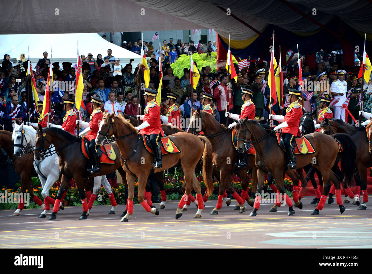 Putrajaya, Malaysia. 31st Aug, 2018. Malaysia's royal cavalries are seen during the 61st National Day celebrations in Putrajaya, Malaysia, on Aug. 31, 2018. Credit: Chong Voon Chung/Xinhua/Alamy Live News - Stock Image