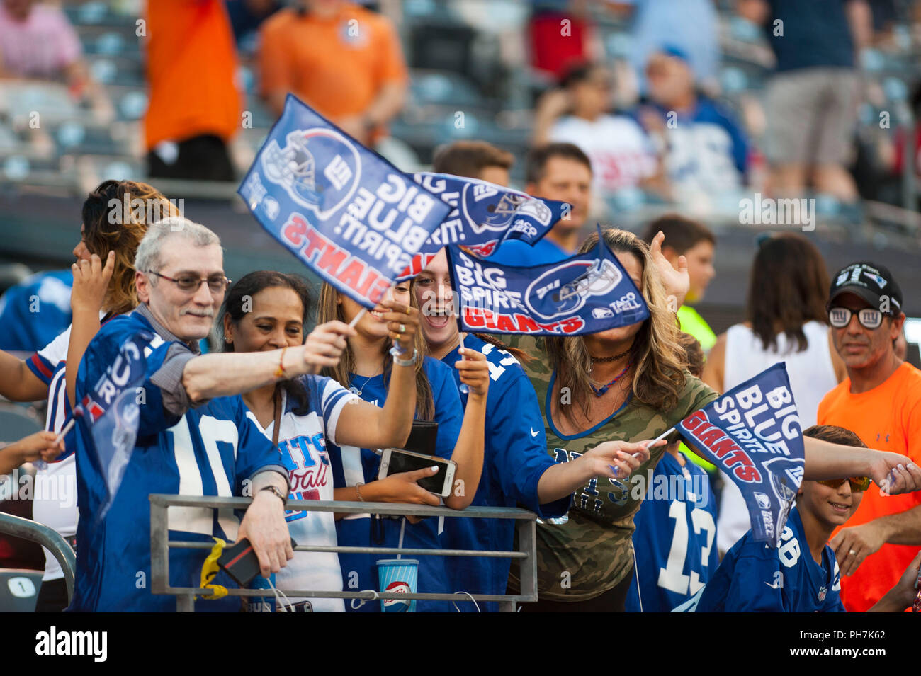 August 31, 2018 - East Rutherford, New Jersey, U.S. - New York Giants fans during a preseason game between the New England Patriots and the New York Giants at MetLife Stadium in East Rutherford, New Jersey. Duncan Williams/CSM - Stock Image