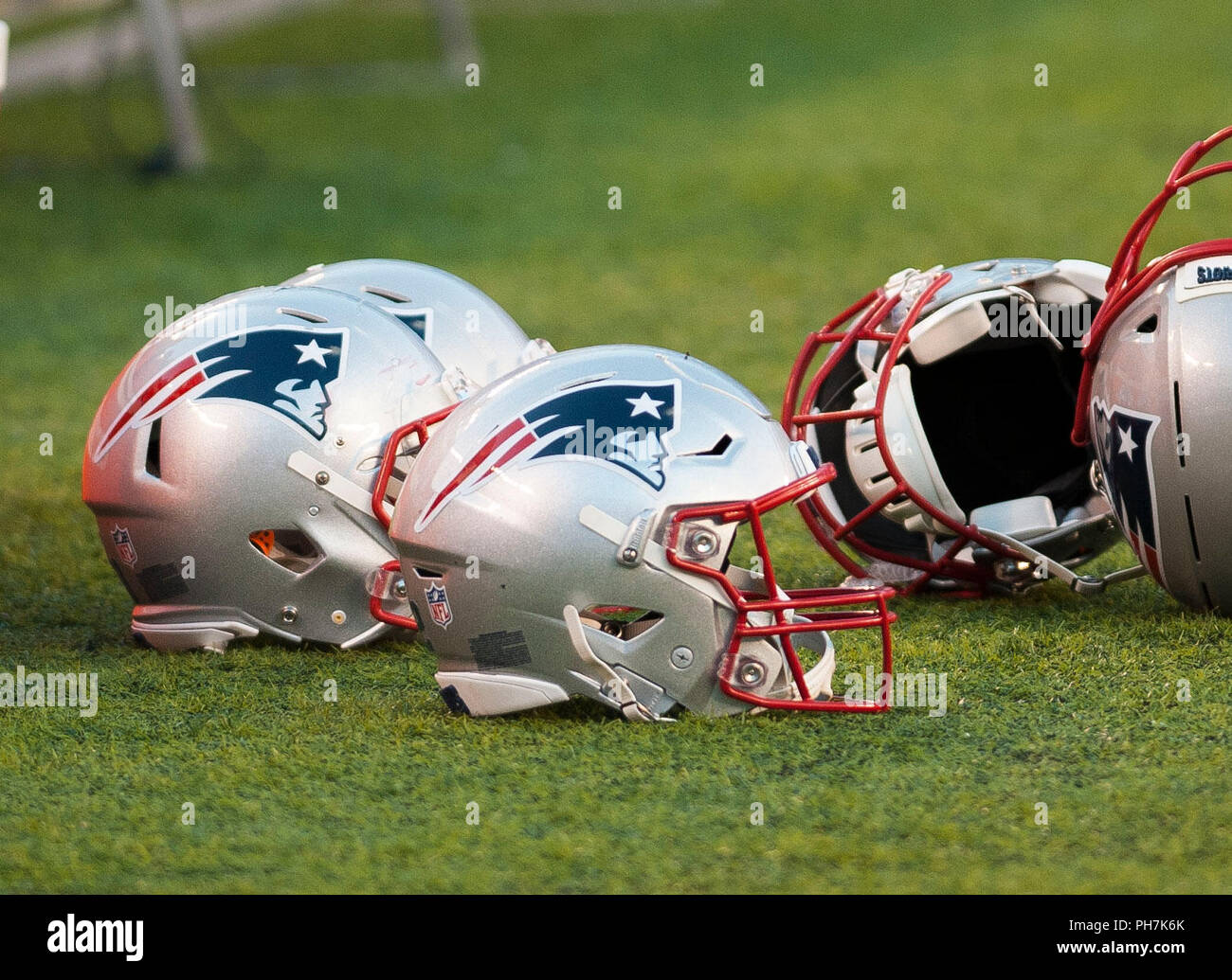 August 31, 2018 - East Rutherford, New Jersey, U.S. - New England Patriots helmets during a preseason game between the New England Patriots and the New York Giants at MetLife Stadium in East Rutherford, New Jersey. Duncan Williams/CSM - Stock Image