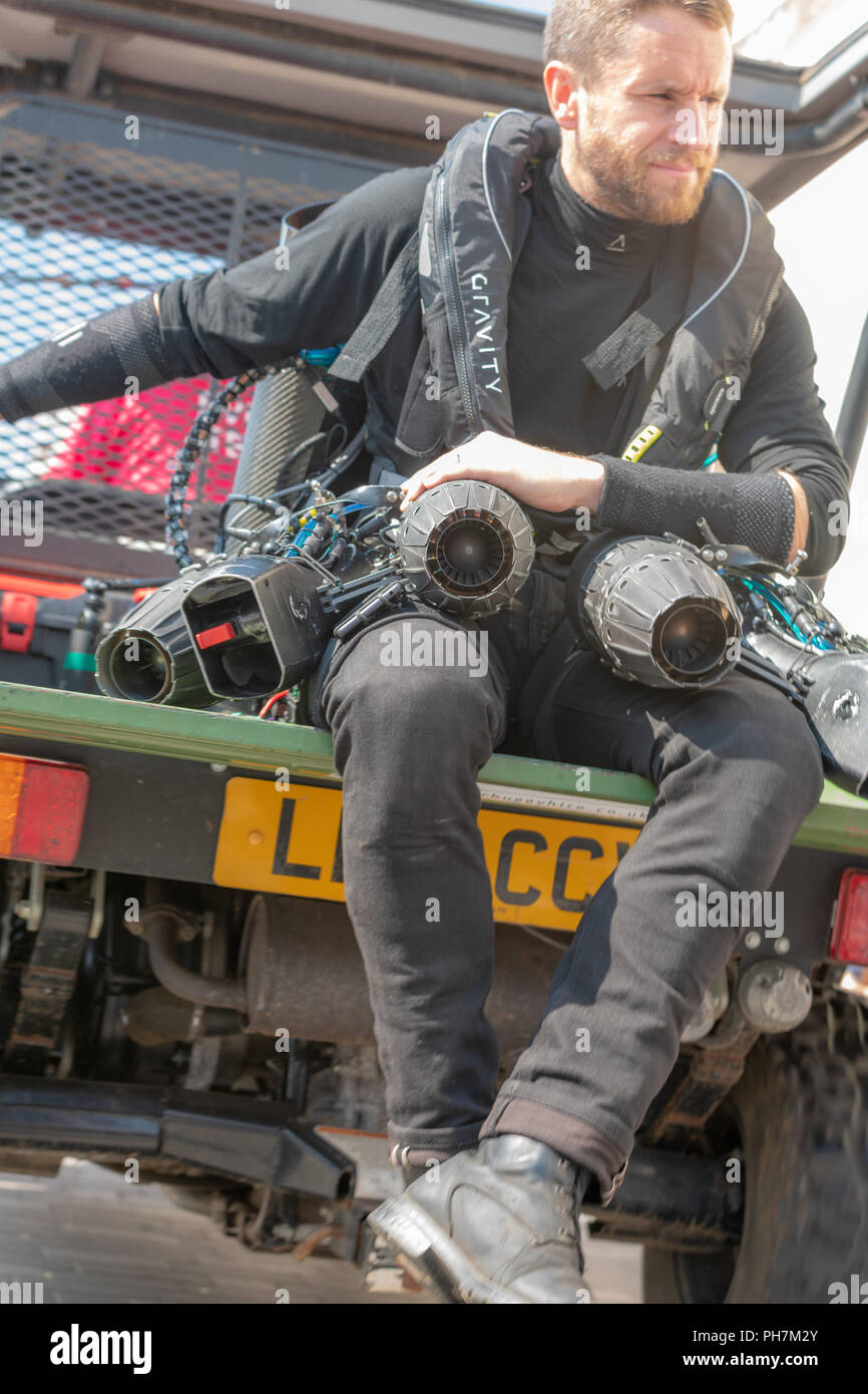 Bournemouth, UK. 31st August, 2018. Gravity Industries show of the 1000bhp roar of a Gravity Jet Suit at the Bournemouth Air Festival in Dorset. Thousands of spectators line the beaches and cliffs to see the free show. Credit: Thomas Faull/Alamy Live News Stock Photo