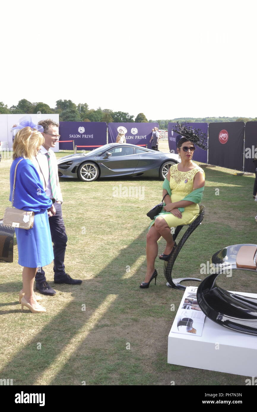 Woodstock, UK. 31st August, 2018. 31st August, 2018.  WOODSTOCK, OXFORDSHIRE, UK  Scenes from the annual  'Salon Prive' at Blenheim Palace where exotic cars mix with high fashion. Credit: Motofoto/Alamy Live News - Stock Image