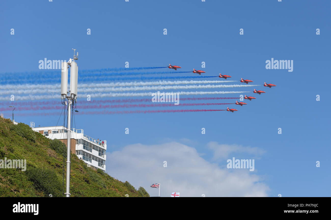 Bournemouth, UK. 31st August, 2018. The RAF Red Arrows put on an impressive aerial display at the Bournemouth Air Festival in Dorset. The free weekend festival goes on until the 2nd September 2018. Credit: Thomas Faull/Alamy Live News Stock Photo