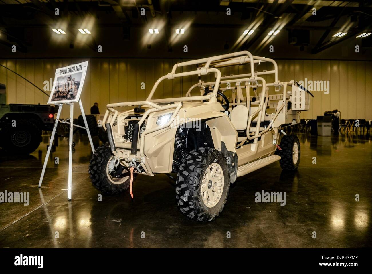 Several pieces of military equipment were on display inside the