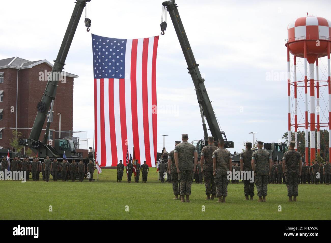 U.S. Marines assigned to 2nd Marine Expeditionary Force conduct a retirement ceremony for Maj. Gen. Niel E. Nelson, deputy commanding general of Marine Corps Combat Development Command at Camp Lejeune, N.C., June 26, 2018. The ceremony was held in honor of Maj. Gen. Nelson's 35 years of honorable meritorious service. Stock Photo
